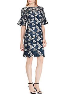 Ruffled-Cuff Lace Dress