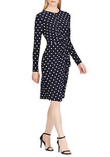 Dot Shirred Jersey Dress
