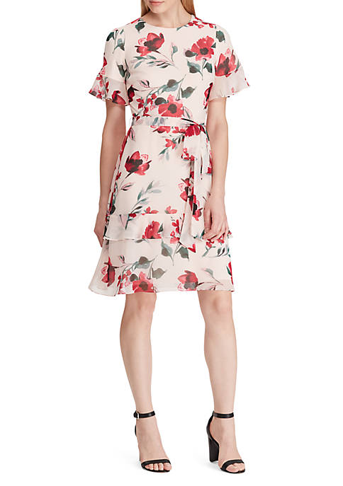 Lauren Ralph Lauren Belted Floral Georgette Dress