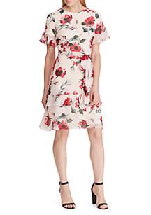 Lauren Ralph Lauren Belted Floral Georgette Dress