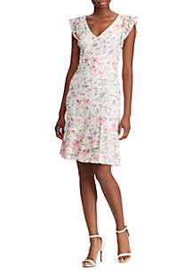 Lauren Ralph Lauren Floral Lace Cap-Sleeve Dress