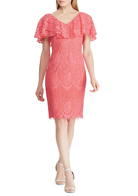 Ruffled-Overlay Lace Cocktail Dress