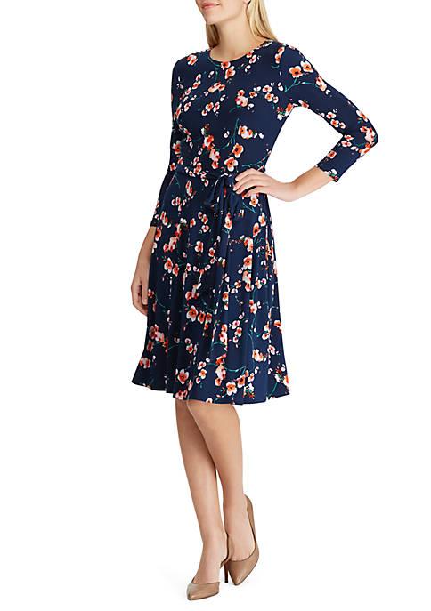 Lauren Ralph Lauren Belted Floral Jersey Dress