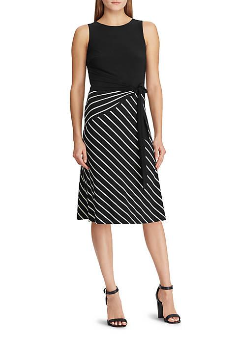 Striped-Skirt Sleeveless Dress