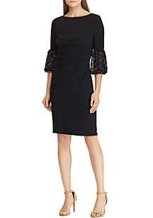 Lace-Trim Ruched Jersey Dress