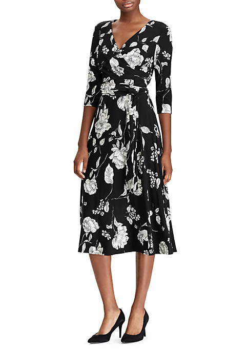 Lauren Ralph Lauren Belted Floral Jersey Dress