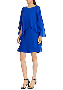 Cape Overlay Chiffon Dress
