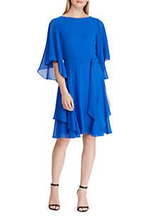 Lauren Ralph Lauren Ruffled Georgette Cocktail Dress