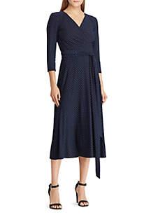 Lauren Ralph Lauren Polka-Dot Ruched Dress