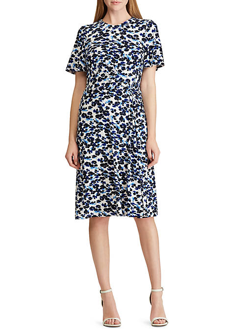 Lauren Ralph Lauren Knot Floral Print Jersey Dress