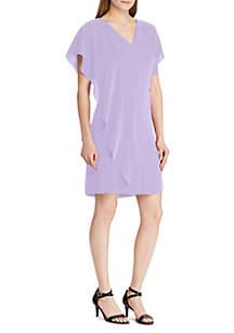 Lauren Ralph Lauren Ruffled Overlay Crepe Dress
