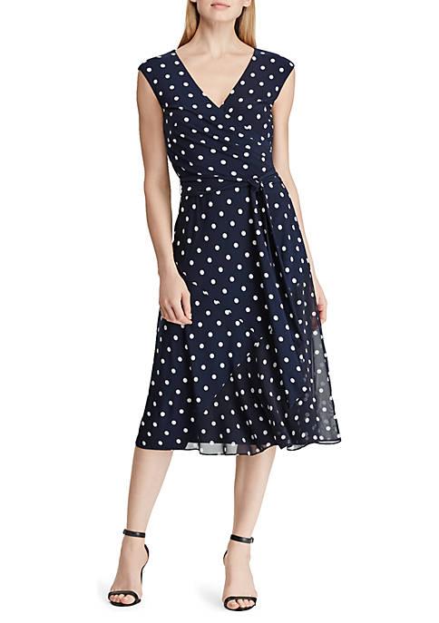 Lauren Ralph Lauren Belted Polka-Dot Dress