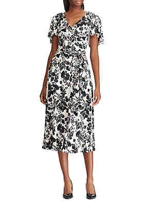 134af139e465 Lauren Ralph Lauren Belted Floral Jersey Dress ...