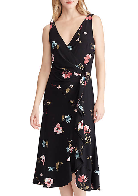 Lauren Ralph Lauren Floral Jersey Surplice Dress