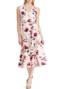 Lauren Ralph Lauren Floral Surplice Jersey Dress