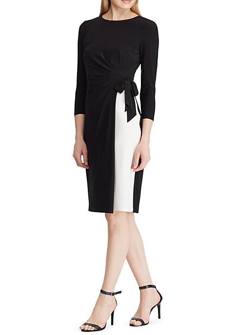 Lauren Ralph Lauren 2-Tone Ruched Jersey Dress