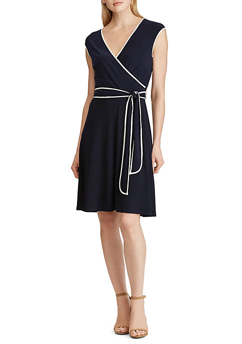 Two Tone Belted Jersey Dress