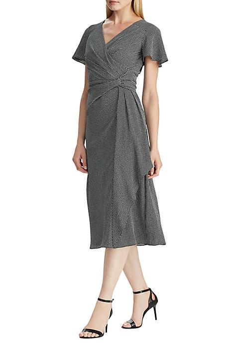 Lauren Ralph Lauren Houndstooth Print Crepe Dress