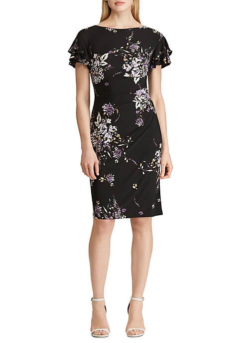 Lauren Ralph Lauren Floral Flutter Sleeve Dress