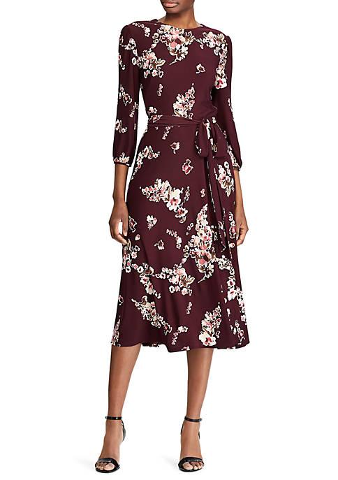 Lauren Ralph Lauren Floral Peasant Sleeve Midi Dress