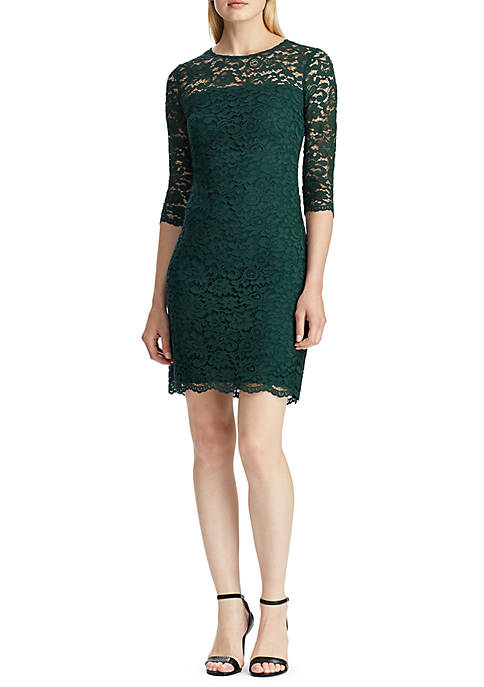 Scalloped Floral Lace Dress