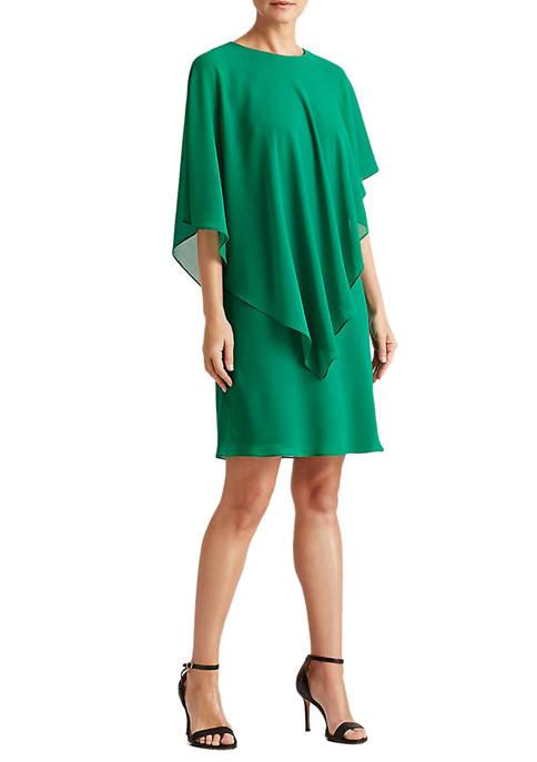 Lauren Ralph Lauren Georgette Cape Shift Dress