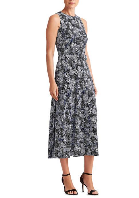 Lauren Ralph Lauren Womens Floral Jersey Sleeveless Dress