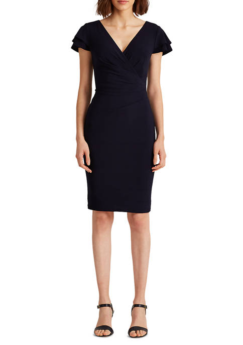 Lauren Ralph Lauren Flutter-Sleeve Surplice Dress