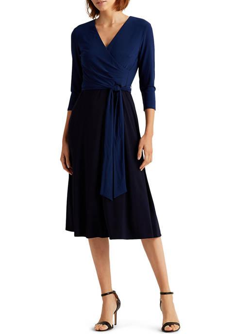 Lauren Ralph Lauren Two-Tone Jersey Surplice Dress
