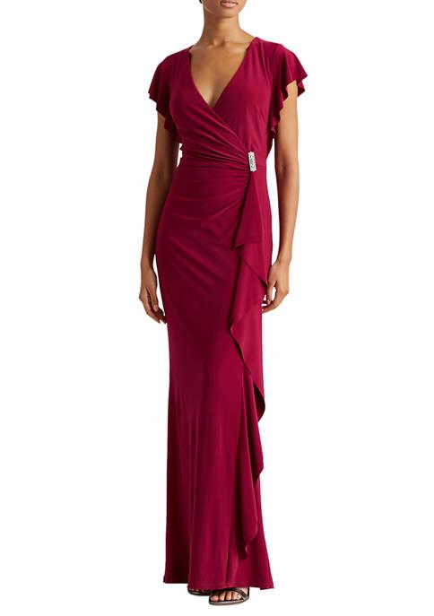 Lauren Ralph Lauren Flutter-Sleeve Surplice Gown