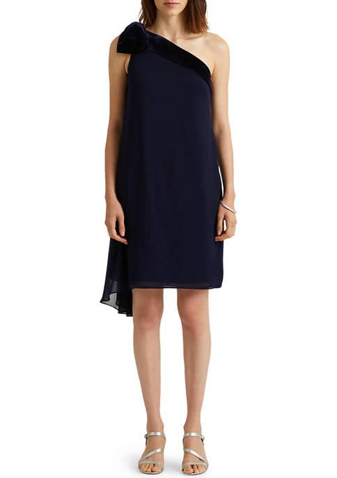 Lauren Ralph Lauren Chiffon One-Shoulder Dress