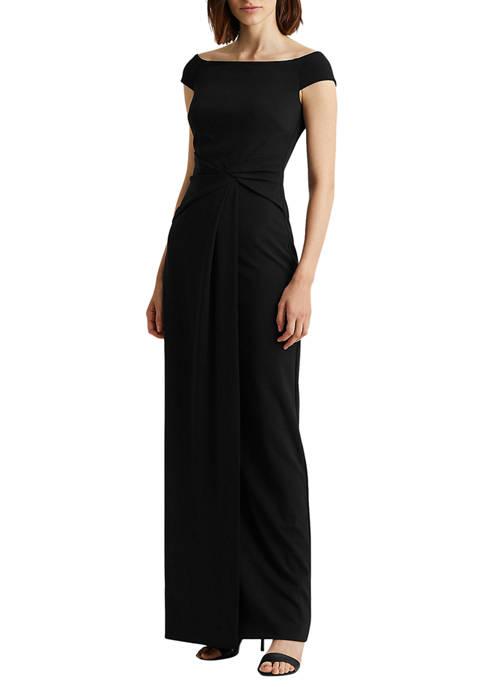 Lauren Ralph Lauren Crepe Off-the-Shoulder Gown
