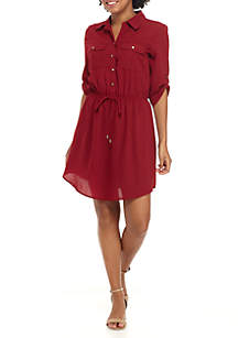 Roll Tab Button Front Shirtdress