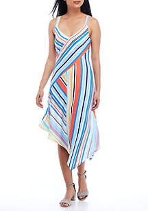 Asymmetric Hem Blur Stripe Maxi Dress