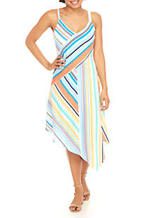 Asymmetrical Hem Maxi Stripe Dress