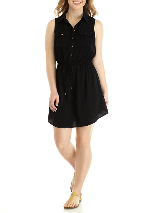 BeBop Juniors Button Front Tank Shirt Dress
