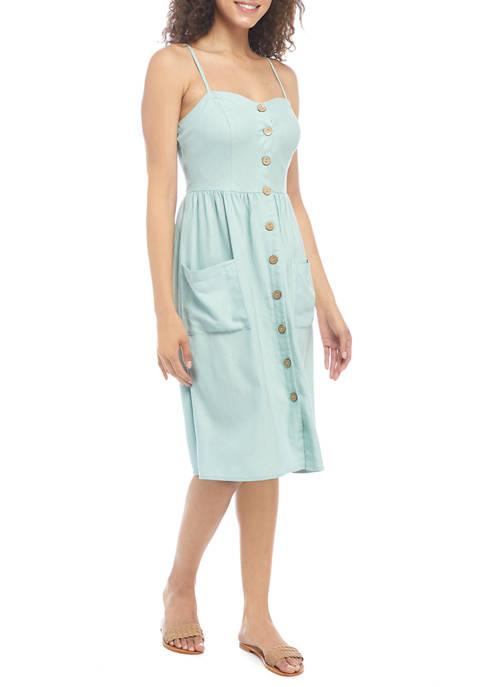 Juniors Sleeveless Linen Button Midi Dress