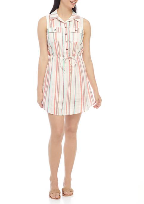 Juniors Tank Linen Shirt Dress