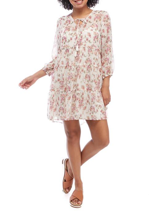 Juniors Blouson Sleeve Printed Babydoll Dress