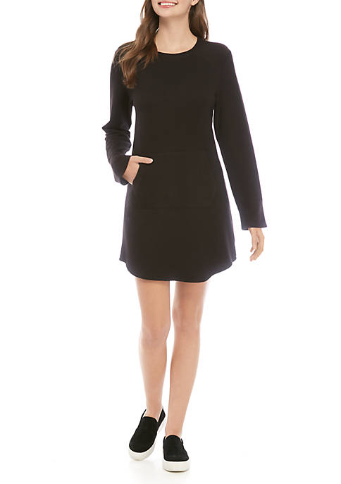 BeBop Womens Long Sleeve Knit Sweatshirt Dress