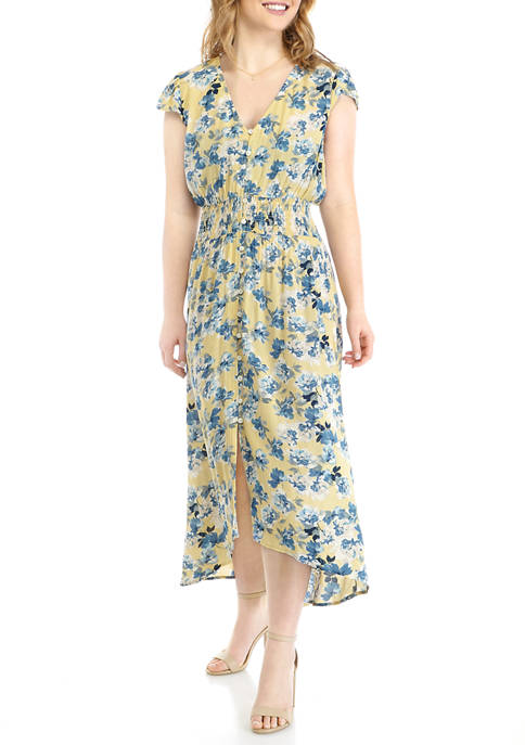 BeBop Juniors Button Front Cap Sleeve Maxi Dress