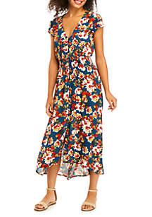BeBop Short Sleeve Button Down High Low Maxi Dress