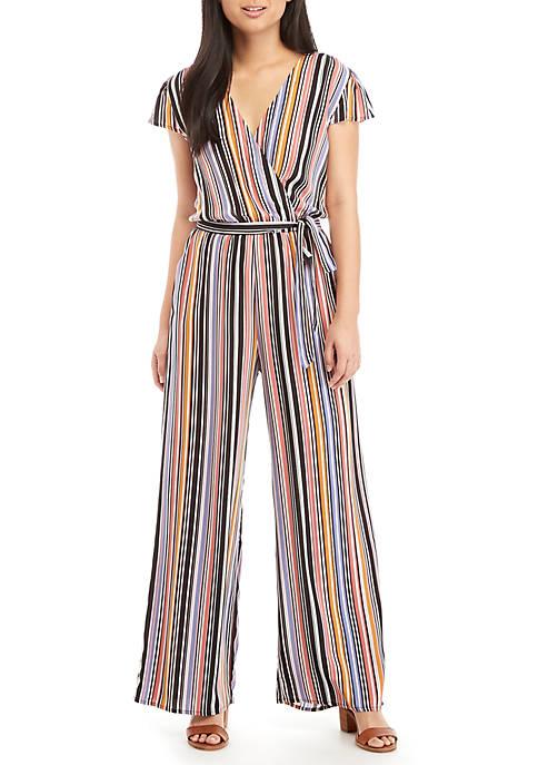 BeBop Stripe Tie Front Wrap Jumpsuit