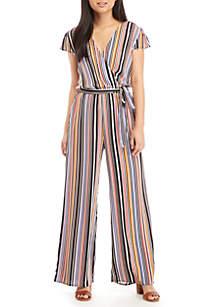 Stripe Tie Front Wrap Jumpsuit