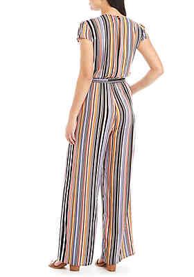 5f2a563021ba BeBop Stripe Tie Front Wrap Jumpsuit BeBop Stripe Tie Front Wrap Jumpsuit