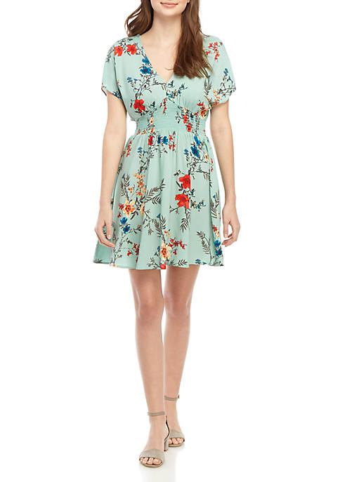 BeBop Short Sleeve Smocked Waist Mini Dress