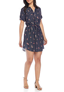 Woven Shirtdress with Drawstring