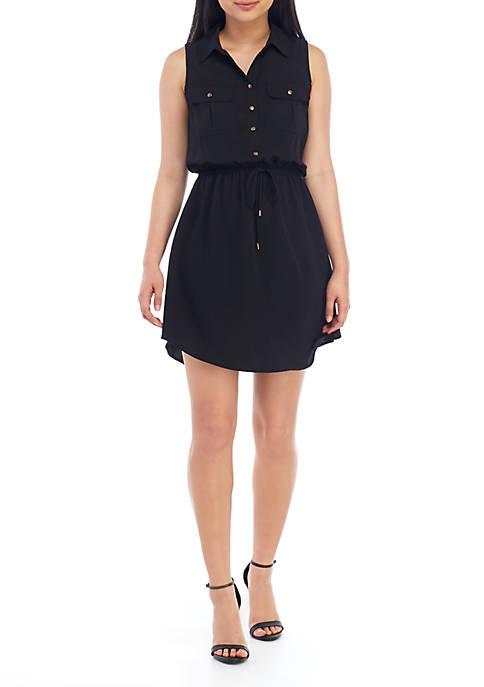 BeBop Sleeveless Button Tie Front Shirt Dress