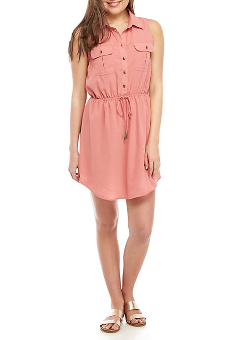 BeBop Sleeveless Button Tie Front Shirt Dress