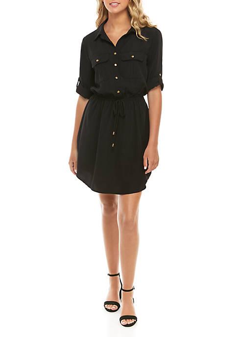 3/4 Sleeve Button Front Shirt Dress